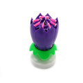 Purple rotating musical lotus flower candle