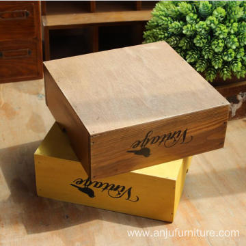 Living room Vintage style wooden makeup storage box for sundries