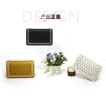 Fashion Black Leather Clutch Satchel Purse