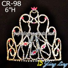 Princess Red Rhinestone Tiara Bridal Headpiece