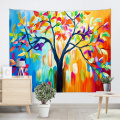 Colorful Tree Tapestry Oil Painting Wall Hanging Psychedelic Forest Tapestry for Livingroom Bedroom Home Dorm Decor