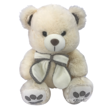 Plush Teddy Bear White With Bow