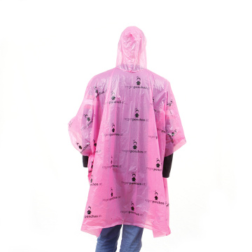 Plastic PLA degradable waterproof rain poncho with print