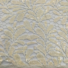 Leaves Pattern Chemical Lace 3mm Sequin Embroidery Fabric