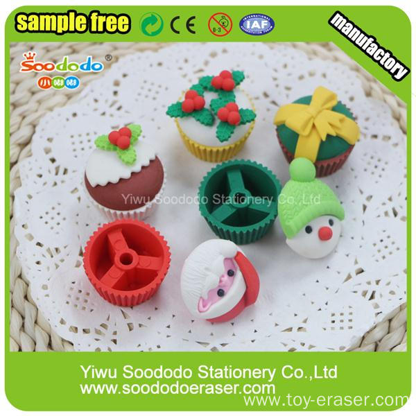 PVC packed Christmas Promotional Mini Eraser
