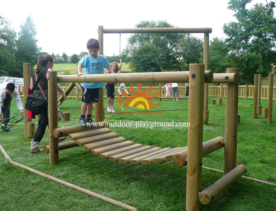 wooden balancing bridge playground