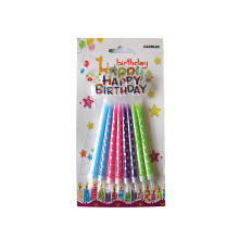Spiral birthday party candle with holders