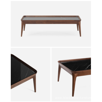 FAS Walnut Frame Marble Top Coffee Tables