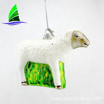 hanging glass white sheep ornament for Christmas decoration