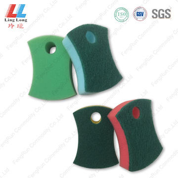 Colored scouring sponge kitchen cleaning