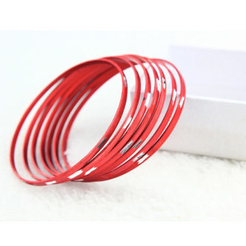 Engraved Thin Aluminium Bangles Bracelets Plated Colors