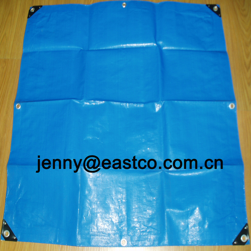 UV Blue Poly Tarps Lonas reinforced with corner bars and rivet