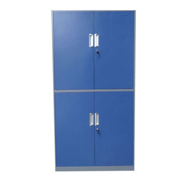 Four door metal cloth storage cupboard with shelves