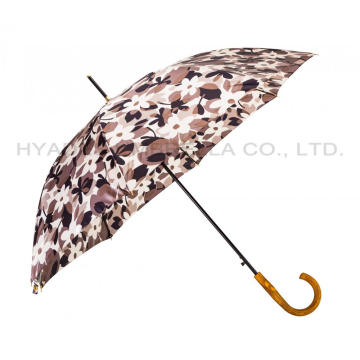 Women's Floral Print Windproof Auto Open Straight Umbrella