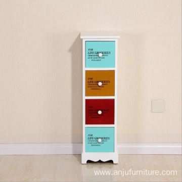 Colorful design 4 drawers wooden storage cabinet