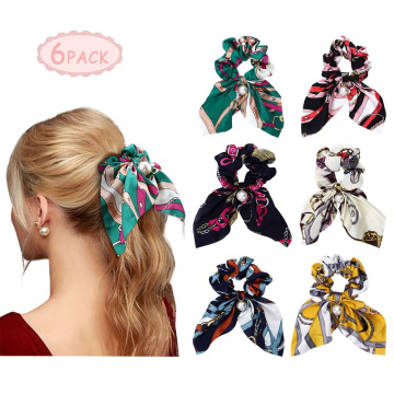 Cheap PriceList for elastic scrunchy  hair bobbles Scarf Scrunchies Pearls Silk Satin Hair Band supply to Uganda Supplier