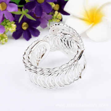Silver Rhinestone Bangle Crystal Heart Personalized Bracelet