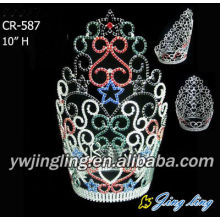 Customized Supplier for Large Full Round Pageant Crowns Colorful Round Pageant Crown For Sale supply to Tokelau Factory