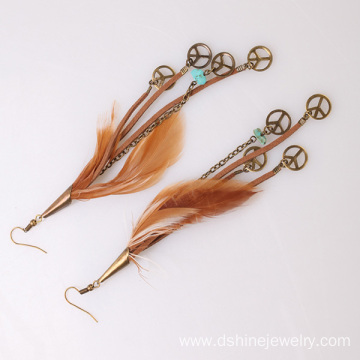 Hinged Earrings Peace Charm Pendant Long Feather Earrings
