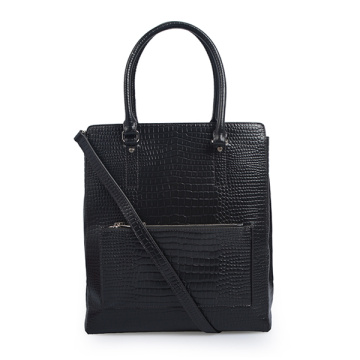 Black Croc-Embossed Italian Leather Business Tote