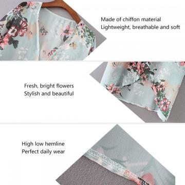 Womens Floral Chiffon Casual Cardigan Kimono Cover Up