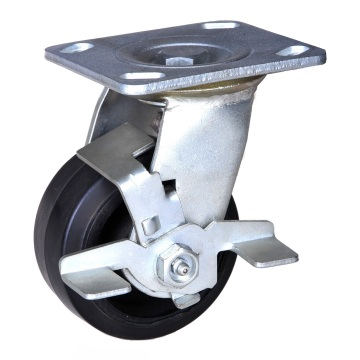 6 inch mold on rubber wheel brake caster
