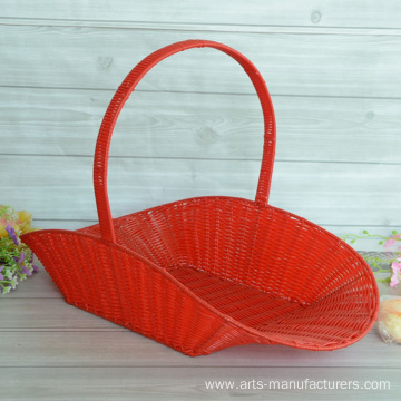 Red Weaving Plastic Rattan Flower Basket