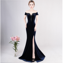 Banquet evening dress women feel the annual meeting host fishtail skirt long hair velvet repair body dignified atmosphere