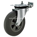 6 Inch Plate Swivel Gray Rubber PP Core With Directional Lock Bracket Dustbin Wheel