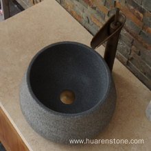 Top Quality for Natural Stone Sink G654 dark grey round antique granite sink export to United States Manufacturer