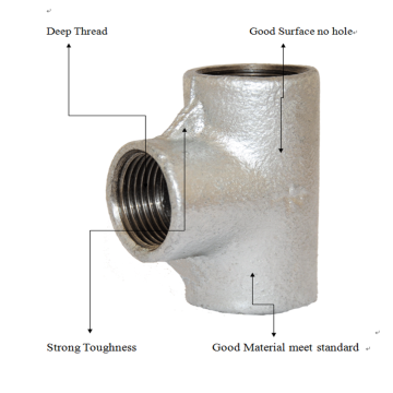Plain Elbow Tee Crosses Malleable Iron Pipe Fitting
