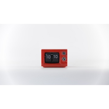 Red color small size children table clock