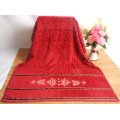 Yarn Dyed Patterned Red Bath Towels