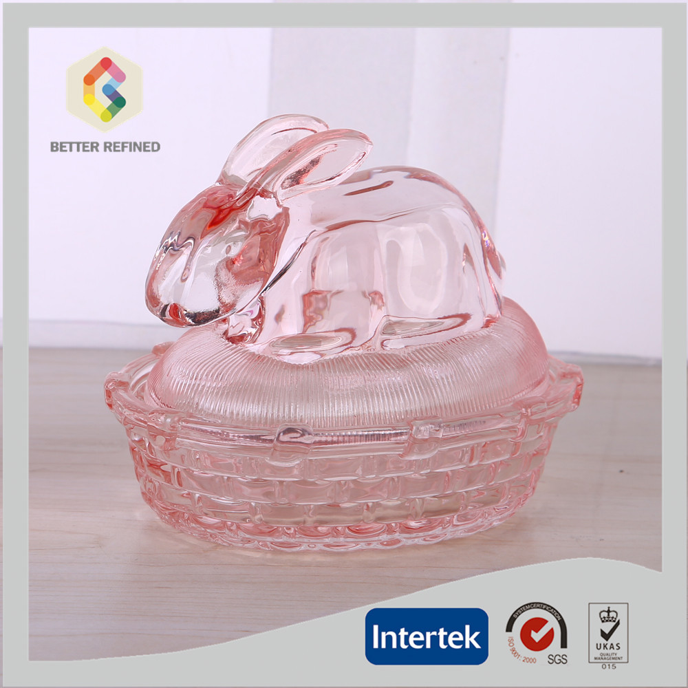 Hand Made Pink Rabbit Shaped Decorative Glass Jar With Lid