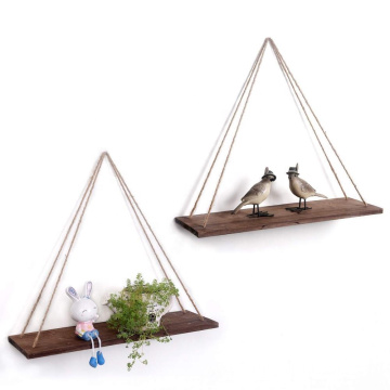 Real Wood Farmhouse Floating Shelves Hanging Shelves with Rope Shelving Set Swing Rope Wood Wall Shelf for Hanging Wall Mounted