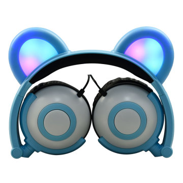 LED Light Wired Bear Panda Headphones for Kids