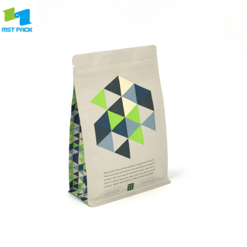 100% Bio Compostable Standing Up Box Bottom Pouch Coffee Bag with Zipper