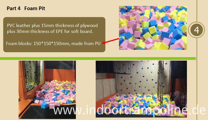 Foam pit of jumping trampoline park