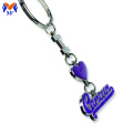 Silver Heart Engraved Keychain with glitter