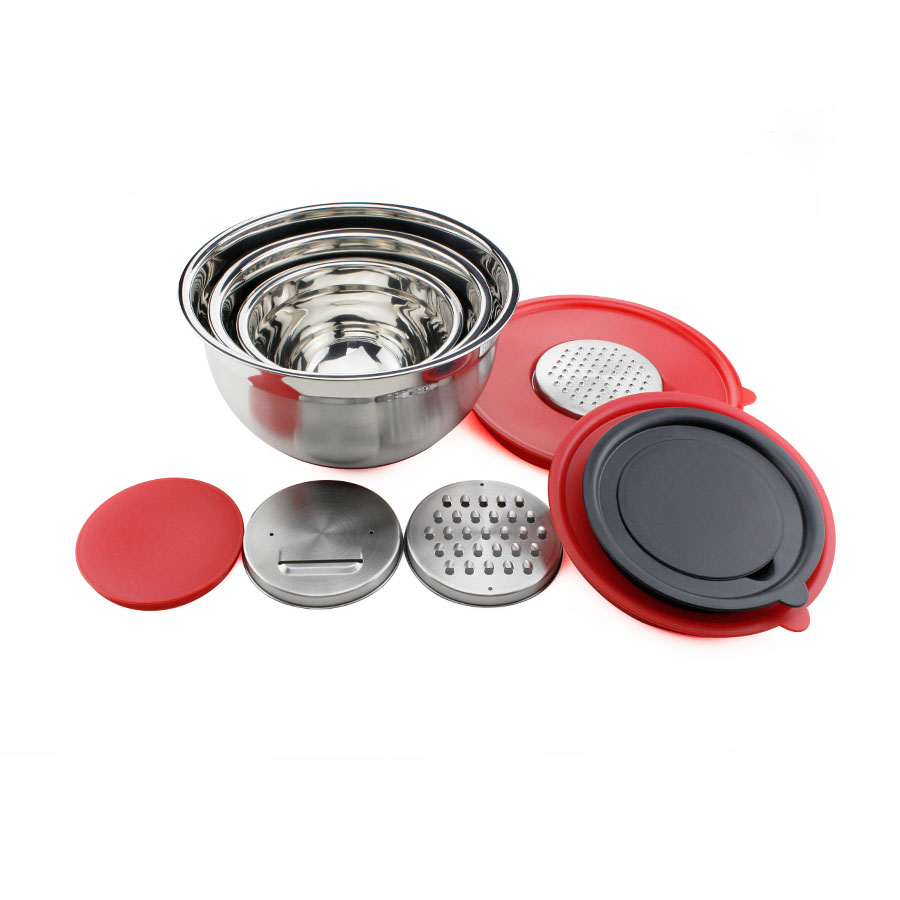 3pcs Stainless Steel Mixing Bowls set with Grater