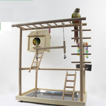 Solid Wood Bird House With Activity Room