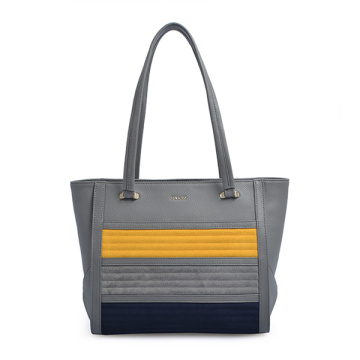 Handmade Gray Leather Tote Oversize Shoulder Bag