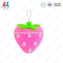 Strawberry shape loofah sponge bathing item