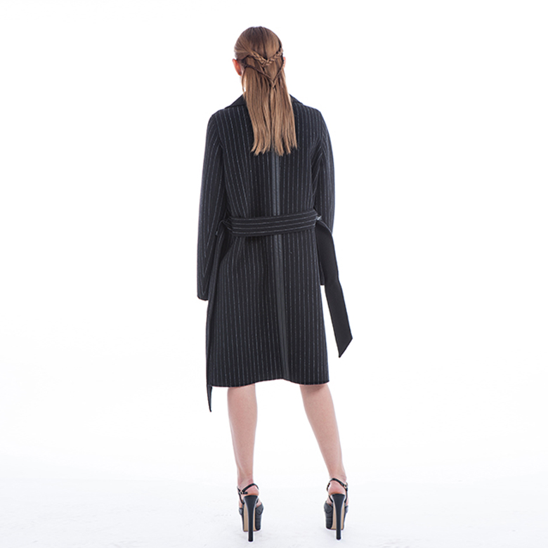 Black Striped Winter Coat with Belt