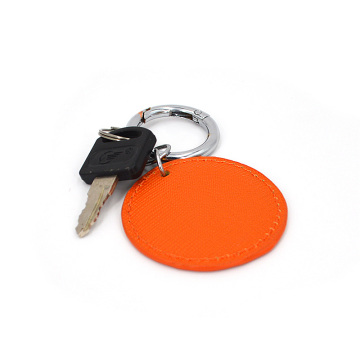 Promotion Concise Silver Ring Leather Keychain for Gift