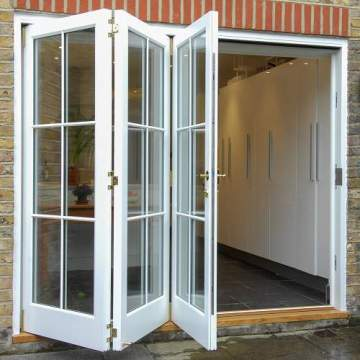 Lingyin Construction Materials Ltd Exterior Patio Clear Hollow White Aluminum Folding  Doors