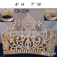 Rhinestone Gold Plated Full Round Pageant Crown
