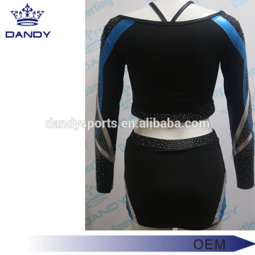 China for Custom Cheerleading Uniforms elegant metallic stripes adult cheerleader costume export to Grenada Exporter