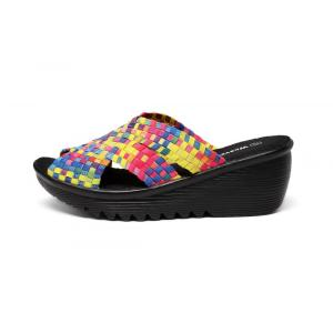 Colorful Woven Design Platform Wedge Woven Slippers