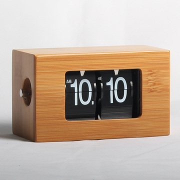 Mini Wooden Flip Clock for Table Decor